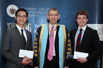 L-R Skills Comp runner-up Daniel Lin, RCSEd President Mr Ian Ritchie and Skills Comp Winner, Jamie Clements